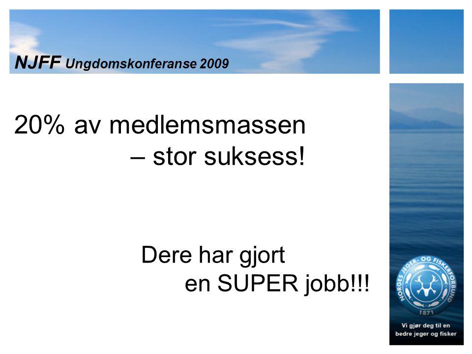 NJFF Ungdomskonferanse 2009 20% av medlemsmassen – stor suksess! Dere har gjort en SUPER jobb!!!