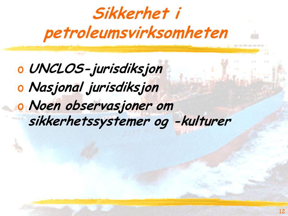 Sikkerhet i petroleumsvirksomheten oUNCLOS-jurisdiksjon oNasjonal jurisdiksjon oNoen observasjoner om sikkerhetssystemer og -kulturer 12
