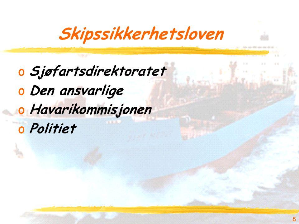 Skipssikkerhetsloven oSjøfartsdirektoratet oDen ansvarlige oHavarikommisjonen oPolitiet 8