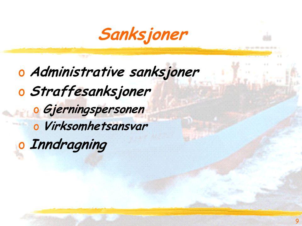 Sanksjoner oAdministrative sanksjoner oStraffesanksjoner oGjerningspersonen oVirksomhetsansvar oInndragning 9
