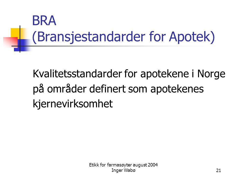 Etikk for farmasøyter august 2004 Inger Wabø21 BRA (Bransjestandarder for Apotek) Kvalitetsstandarder for apotekene i Norge på områder definert som ap