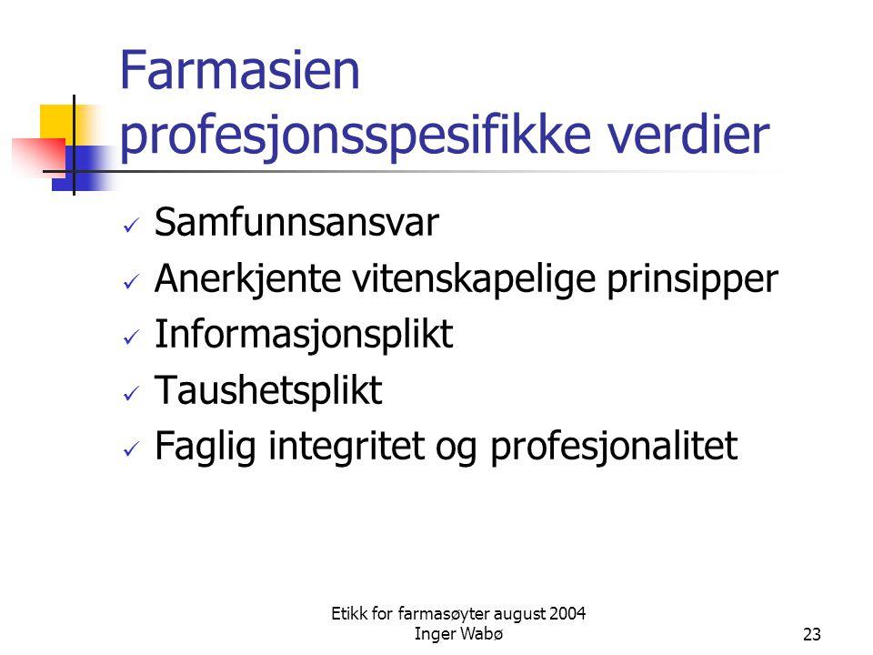 Etikk for farmasøyter august 2004 Inger Wabø23 Farmasien profesjonsspesifikke verdier Samfunnsansvar Anerkjente vitenskapelige prinsipper Informasjons
