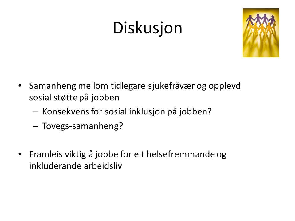 Diskusjon Samanheng mellom tidlegare sjukefråvær og opplevd sosial støtte på jobben – Konsekvens for sosial inklusjon på jobben? – Tovegs-samanheng? F