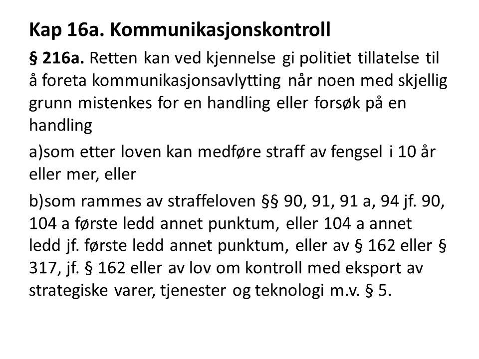 Kap 16a.Kommunikasjonskontroll § 216a.