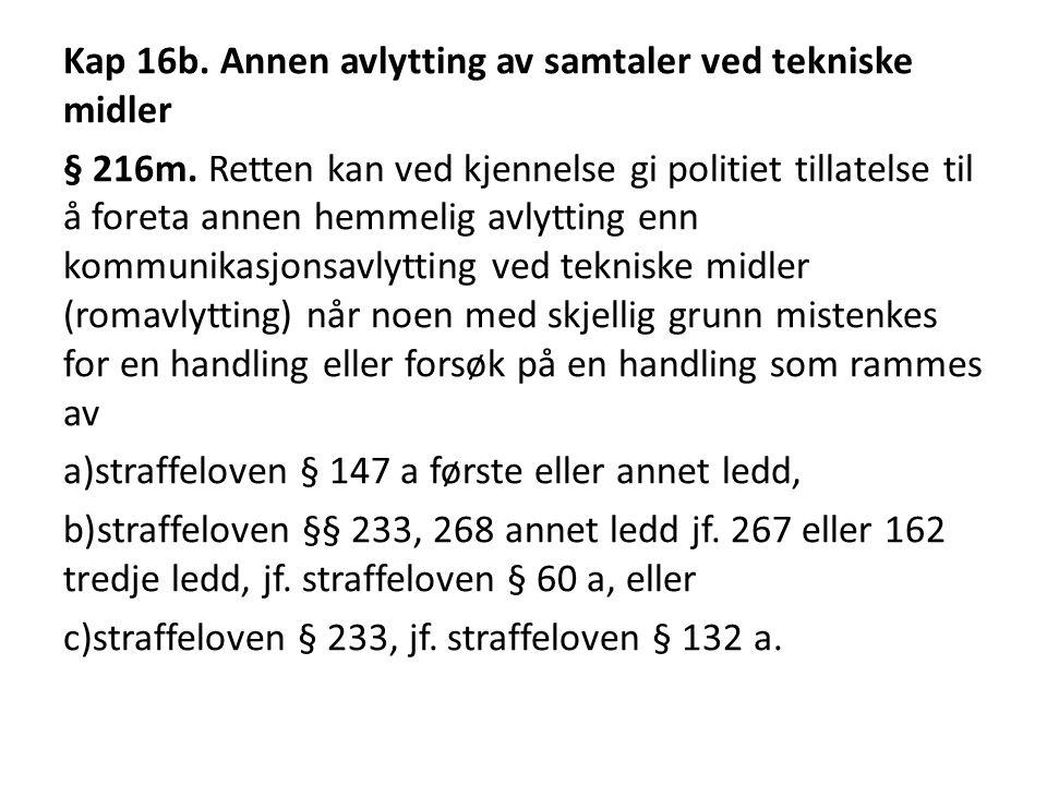 Kap 16b.Annen avlytting av samtaler ved tekniske midler § 216m.