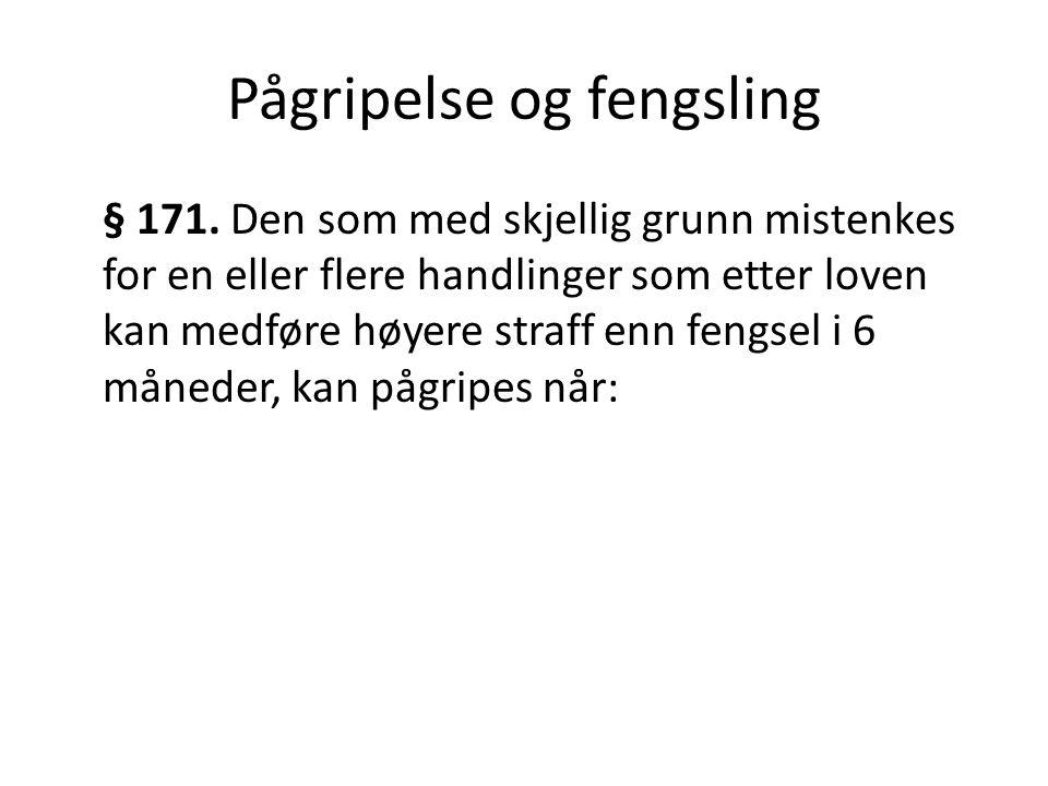 Pågripelse og fengsling § 171.
