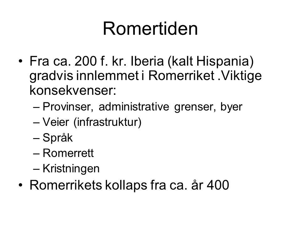 Romertiden Fra ca. 200 f. kr. Iberia (kalt Hispania) gradvis innlemmet i Romerriket.Viktige konsekvenser: –Provinser, administrative grenser, byer –Ve