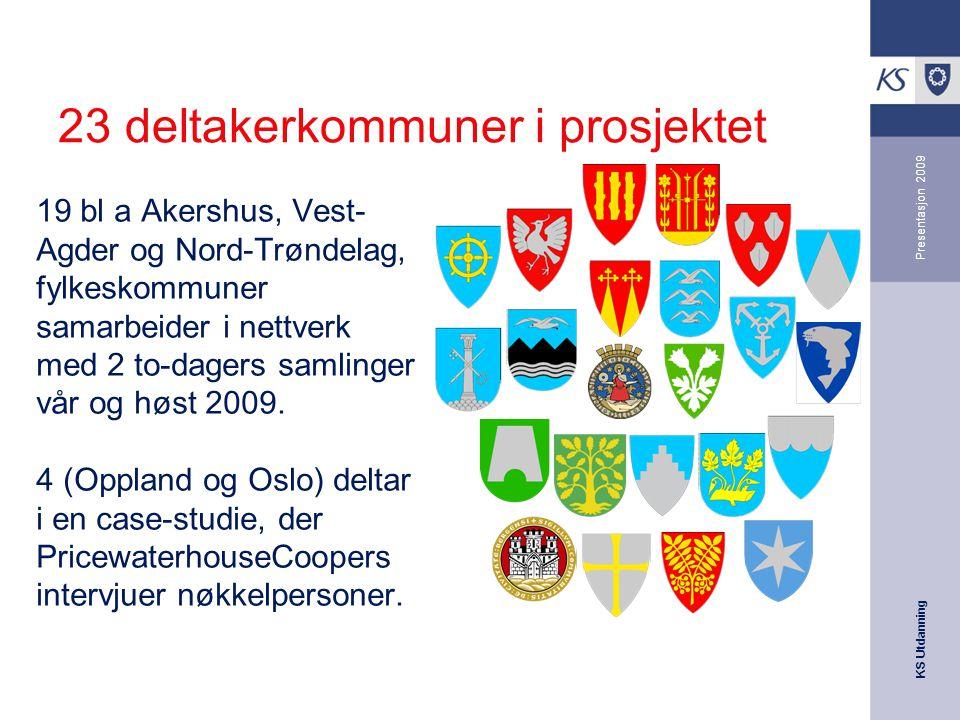 KS Utdanning Presentasjon 2009 23 deltakerkommuner i prosjektet 19 bl a Akershus, Vest- Agder og Nord-Trøndelag, fylkeskommuner samarbeider i nettverk med 2 to-dagers samlinger vår og høst 2009.