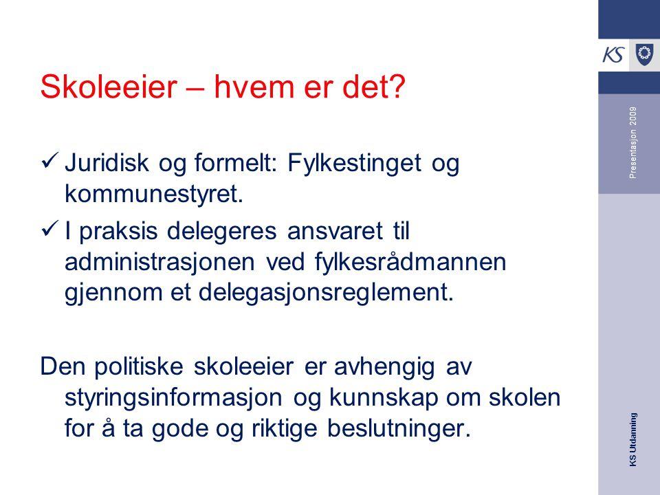 KS Utdanning Presentasjon 2009 Skoleeier – hvem er det.