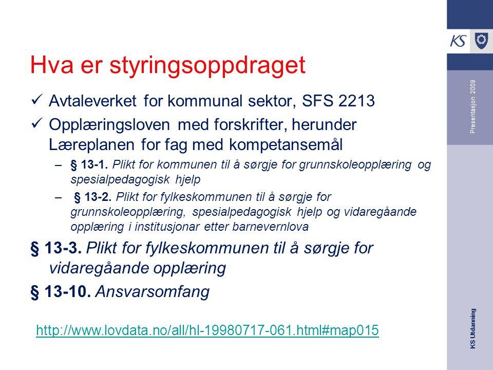 KS Utdanning Presentasjon 2009 Hva er styringsoppdraget Avtaleverket for kommunal sektor, SFS 2213 Opplæringsloven med forskrifter, herunder Læreplanen for fag med kompetansemål –§ 13-1.