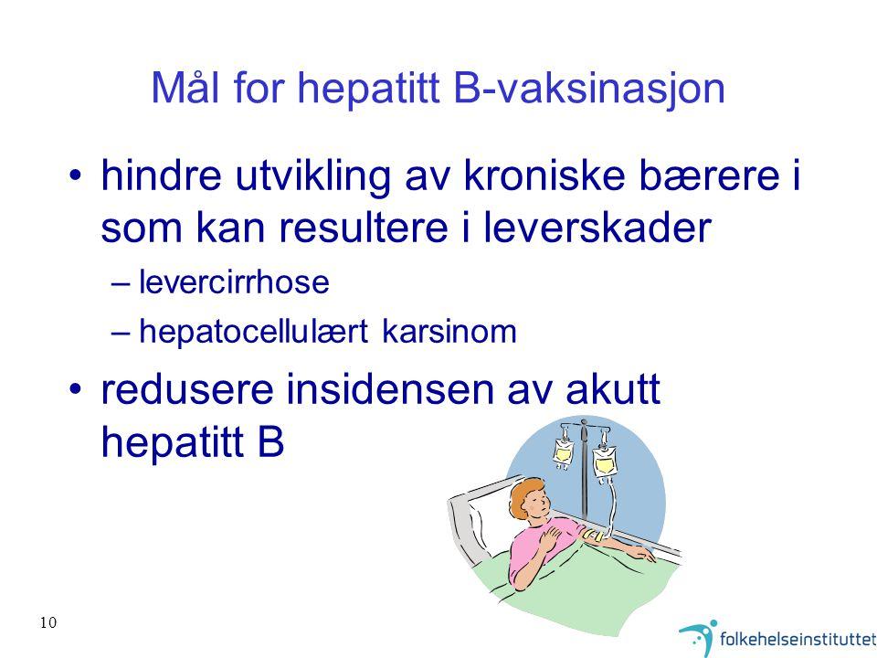 10 Mål for hepatitt B-vaksinasjon hindre utvikling av kroniske bærere i som kan resultere i leverskader –levercirrhose –hepatocellulært karsinom redus