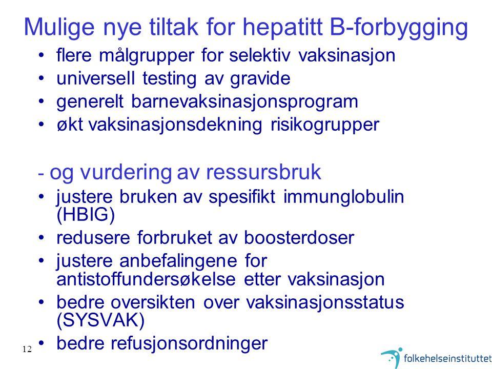 12 Mulige nye tiltak for hepatitt B-forbygging flere målgrupper for selektiv vaksinasjon universell testing av gravide generelt barnevaksinasjonsprogr