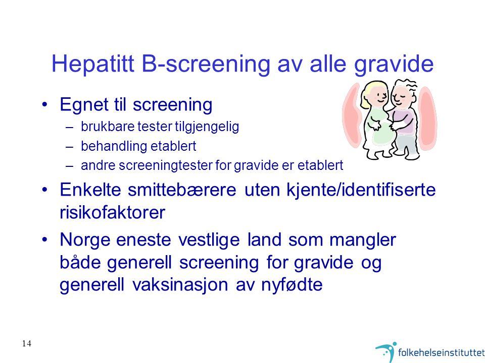 14 Hepatitt B-screening av alle gravide Egnet til screening –brukbare tester tilgjengelig –behandling etablert –andre screeningtester for gravide er e