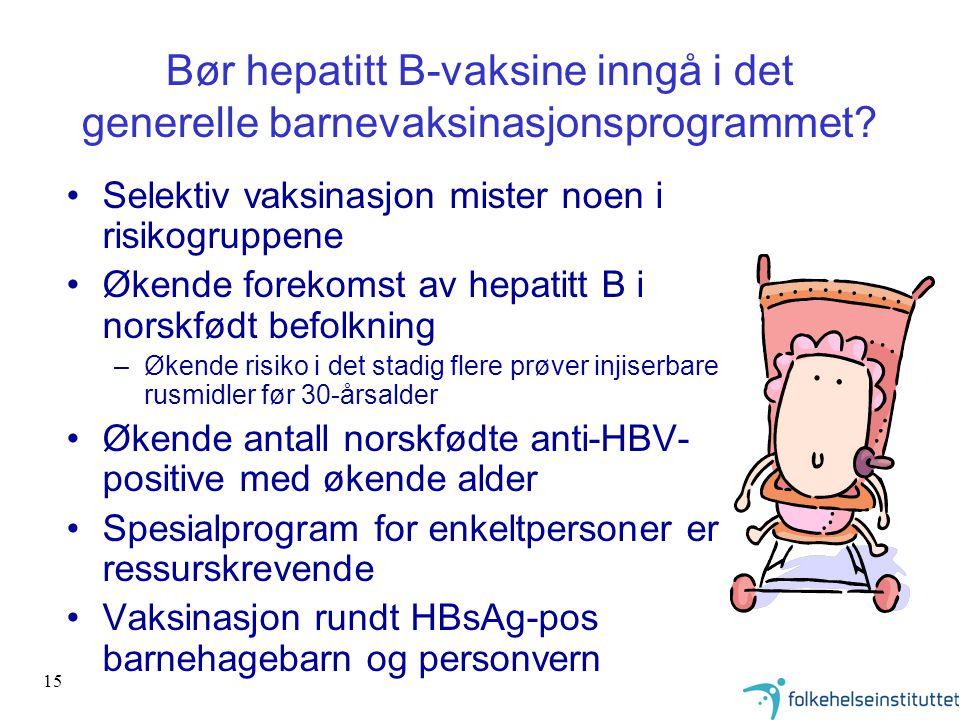 15 Bør hepatitt B-vaksine inngå i det generelle barnevaksinasjonsprogrammet? Selektiv vaksinasjon mister noen i risikogruppene Økende forekomst av hep