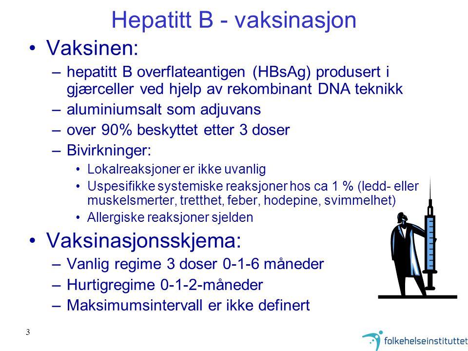 3 Hepatitt B - vaksinasjon Vaksinen: –hepatitt B overflateantigen (HBsAg) produsert i gjærceller ved hjelp av rekombinant DNA teknikk –aluminiumsalt s