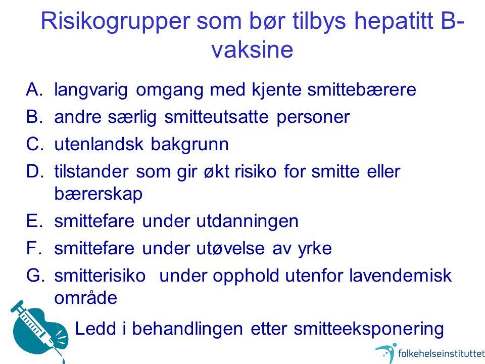 9 Risikogrupper som bør tilbys hepatitt B- vaksine A.langvarig omgang med kjente smittebærere B.andre særlig smitteutsatte personer C.utenlandsk bakgr