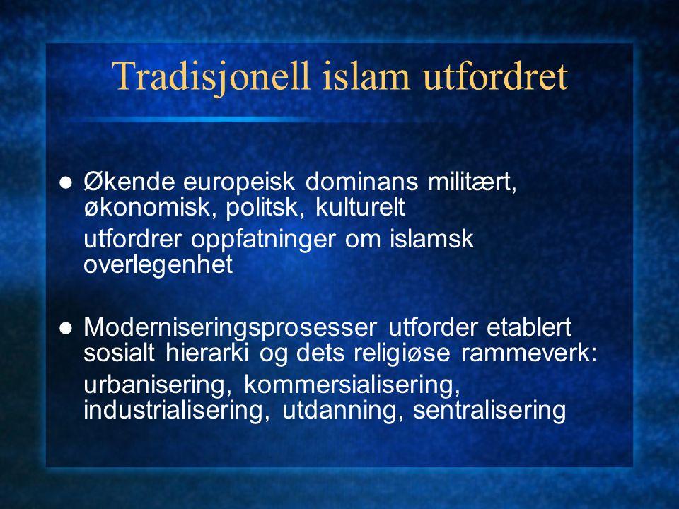 Tradisjonell islam utfordret Økende europeisk dominans militært, økonomisk, politsk, kulturelt utfordrer oppfatninger om islamsk overlegenhet Modernis