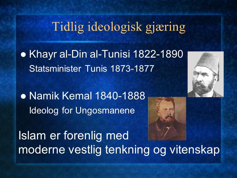 Tidlig ideologisk gjæring Khayr al-Din al-Tunisi 1822-1890 Statsminister Tunis 1873-1877 Namik Kemal 1840-1888 Ideolog for Ungosmanene Islam er forenl