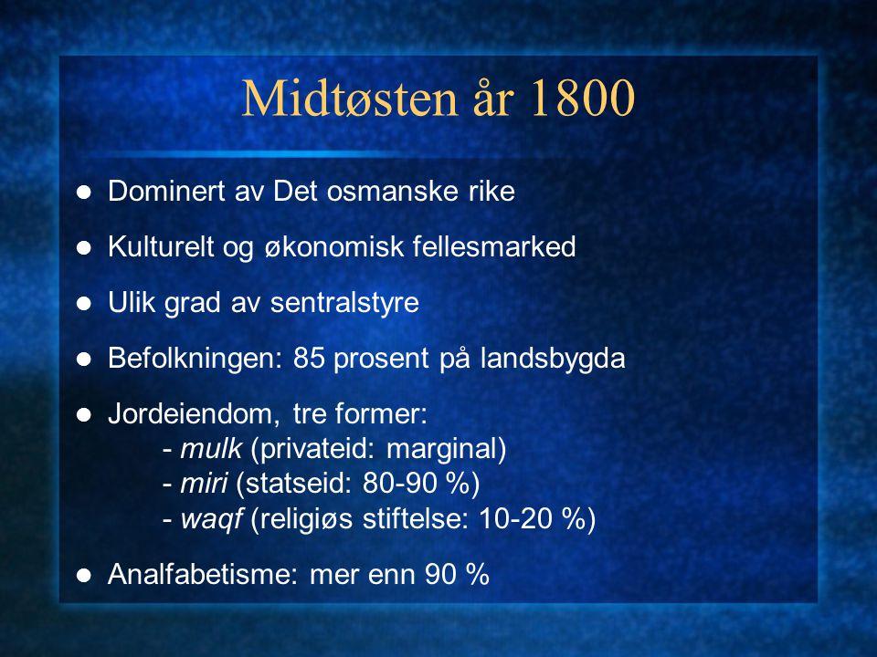 Dominert av Det osmanske rike Kulturelt og økonomisk fellesmarked Ulik grad av sentralstyre Befolkningen: 85 prosent på landsbygda Jordeiendom, tre fo