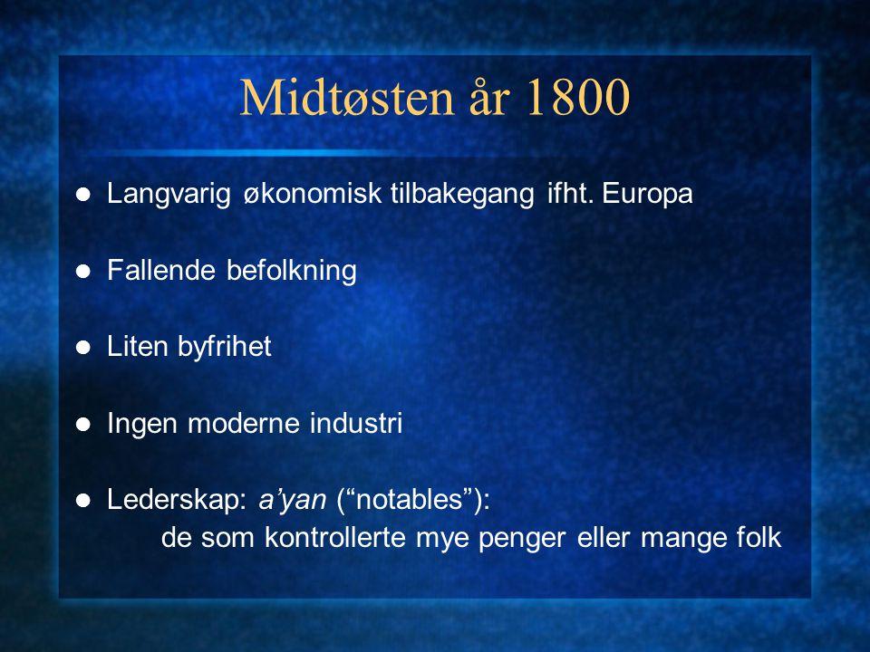"""Midtøsten år 1800 Langvarig økonomisk tilbakegang ifht. Europa Fallende befolkning Liten byfrihet Ingen moderne industri Lederskap: a'yan (""""notables"""")"""