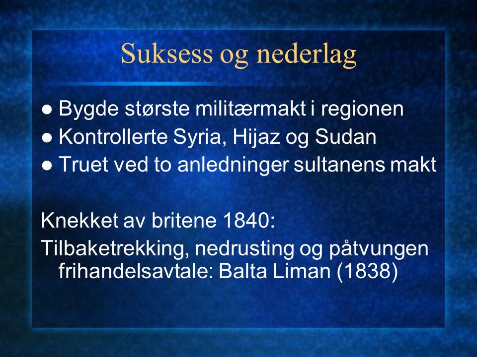 Suksess og nederlag Bygde største militærmakt i regionen Kontrollerte Syria, Hijaz og Sudan Truet ved to anledninger sultanens makt Knekket av britene