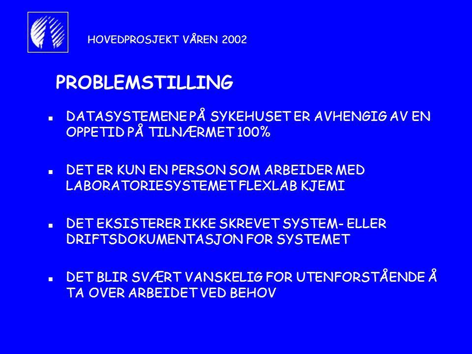 PROBLEMSTILLING n DATASYSTEMENE PÅ SYKEHUSET ER AVHENGIG AV EN OPPETID PÅ TILNÆRMET 100% n DET ER KUN EN PERSON SOM ARBEIDER MED LABORATORIESYSTEMET FLEXLAB KJEMI n DET EKSISTERER IKKE SKREVET SYSTEM- ELLER DRIFTSDOKUMENTASJON FOR SYSTEMET n DET BLIR SVÆRT VANSKELIG FOR UTENFORSTÅENDE Å TA OVER ARBEIDET VED BEHOV HOVEDPROSJEKT VÅREN 2002