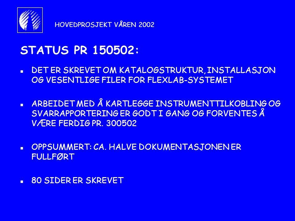 STATUS PR 150502: n DET ER SKREVET OM KATALOGSTRUKTUR, INSTALLASJON OG VESENTLIGE FILER FOR FLEXLAB-SYSTEMET n ARBEIDET MED Å KARTLEGGE INSTRUMENTTILKOBLING OG SVARRAPPORTERING ER GODT I GANG OG FORVENTES Å VÆRE FERDIG PR.