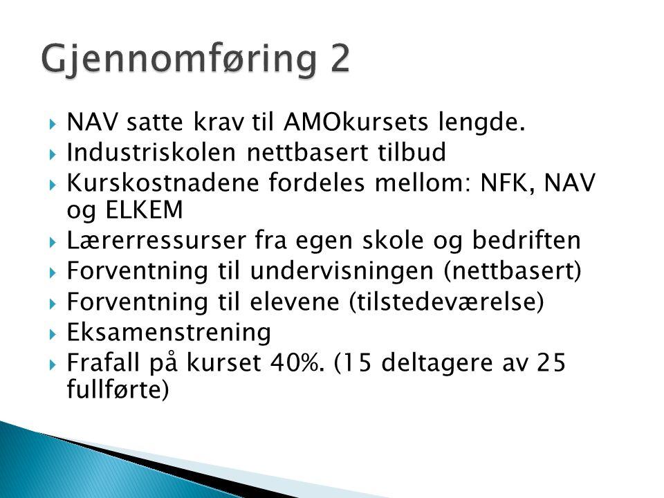  NAV satte krav til AMOkursets lengde.  Industriskolen nettbasert tilbud  Kurskostnadene fordeles mellom: NFK, NAV og ELKEM  Lærerressurser fra eg