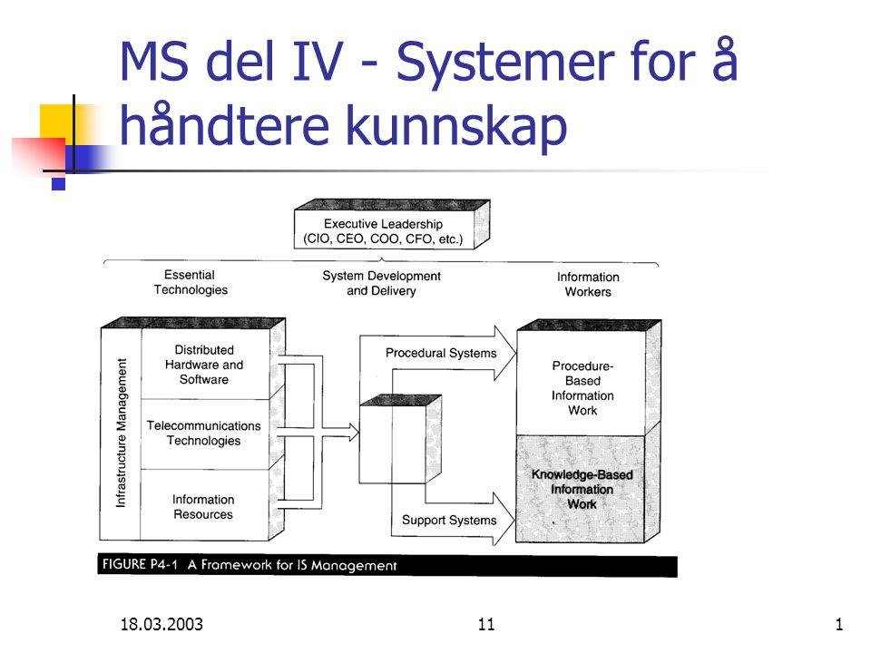 18.03.2003112 Del IV: Oversikt kap.11 - Beslutningsstøtte kap.
