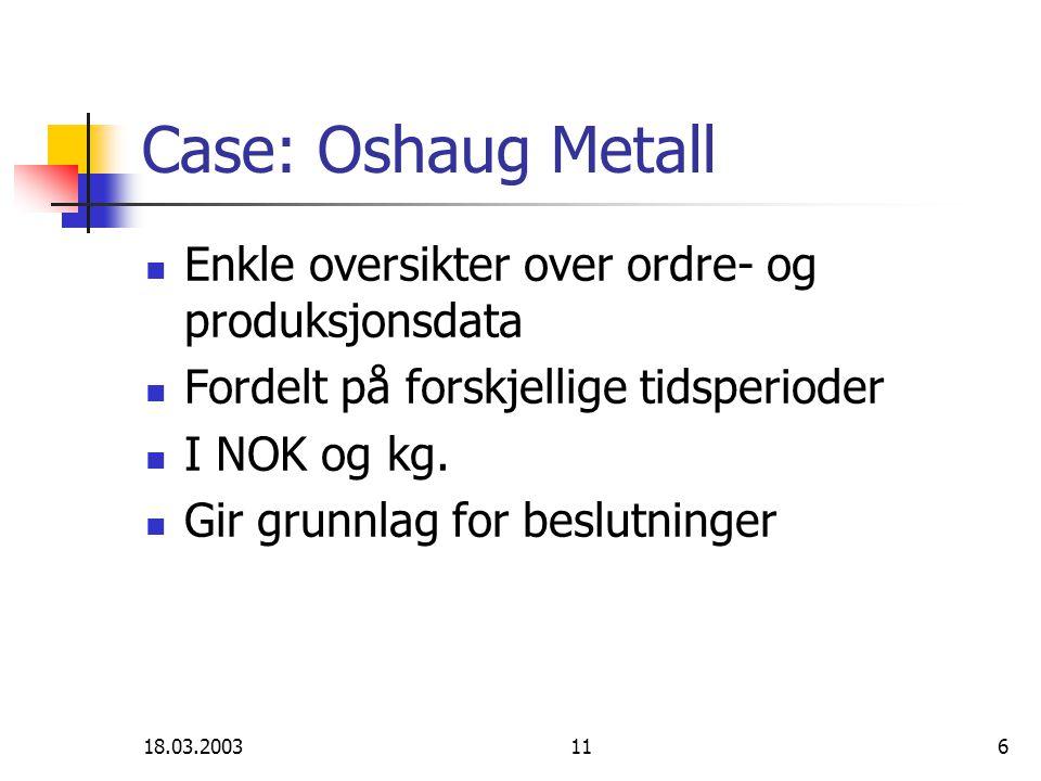 18.03.2003116 Case: Oshaug Metall Enkle oversikter over ordre- og produksjonsdata Fordelt på forskjellige tidsperioder I NOK og kg.
