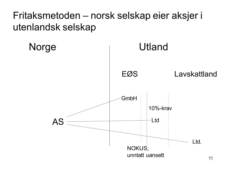 11 Fritaksmetoden – norsk selskap eier aksjer i utenlandsk selskap Norge Utland AS EØS Lavskattland GmbH Ltd Ltd. NOKUS; unntatt uansett 10%-krav