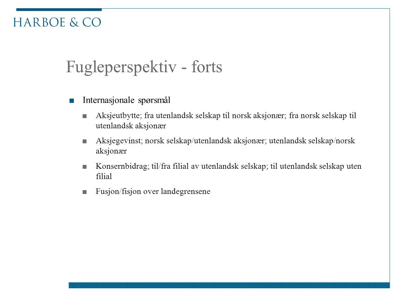 Fugleperspektiv - forts ■Internasjonale spørsmål ■Aksjeutbytte; fra utenlandsk selskap til norsk aksjonær; fra norsk selskap til utenlandsk aksjonær ■