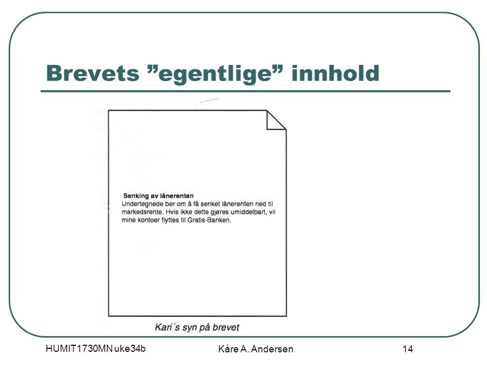 HUMIT1730MN uke34b Kåre A. Andersen 14 Brevets egentlige innhold