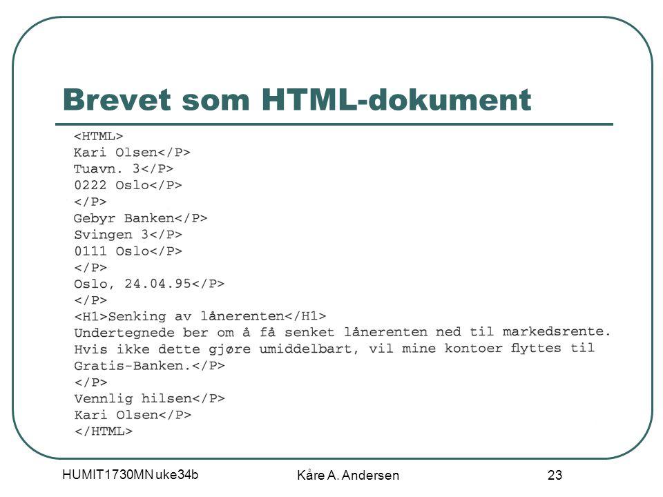 HUMIT1730MN uke34b Kåre A. Andersen 23 Brevet som HTML-dokument