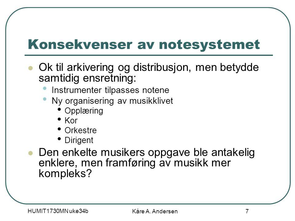 HUMIT1730MN uke34b Kåre A. Andersen 18 Koding etter regler (SGML-DTD)