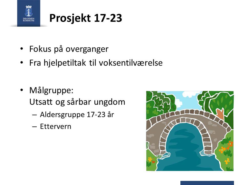 Prosjekt 17-23 Fokus på overganger Fra hjelpetiltak til voksentilværelse Målgruppe: Utsatt og sårbar ungdom – Aldersgruppe 17-23 år – Ettervern
