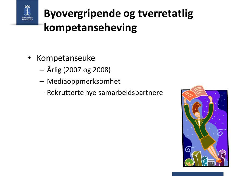 Byovergripende og tverretatlig kompetanseheving Kompetanseuke – Årlig (2007 og 2008) – Mediaoppmerksomhet – Rekrutterte nye samarbeidspartnere