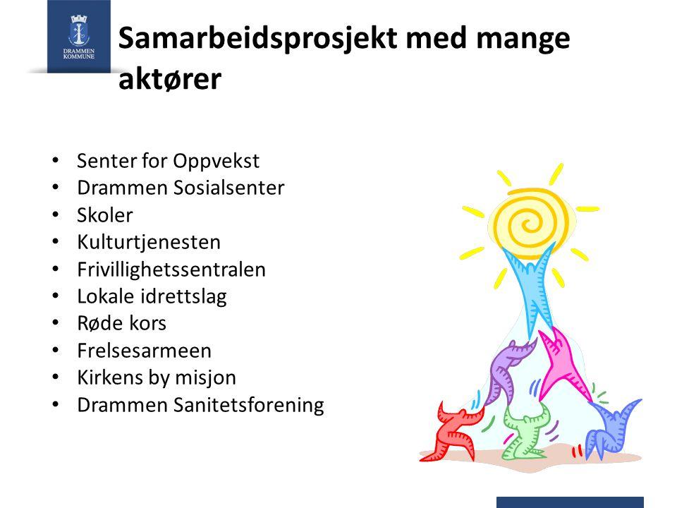 Samarbeidsprosjekt med mange aktører Senter for Oppvekst Drammen Sosialsenter Skoler Kulturtjenesten Frivillighetssentralen Lokale idrettslag Røde kor