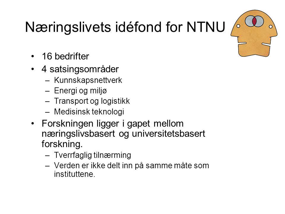 Næringslivets idéfond for NTNU 16 bedrifter 4 satsingsområder –Kunnskapsnettverk –Energi og miljø –Transport og logistikk –Medisinsk teknologi Forskningen ligger i gapet mellom næringslivsbasert og universitetsbasert forskning.