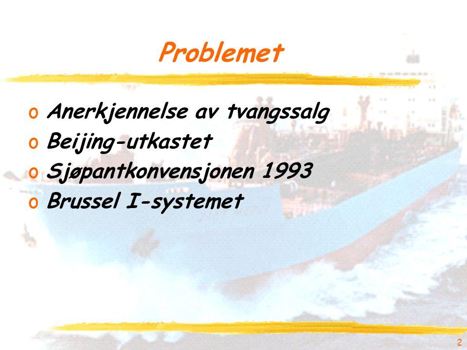 2 Problemet oAnerkjennelse av tvangssalg oBeijing-utkastet oSjøpantkonvensjonen 1993 oBrussel I-systemet