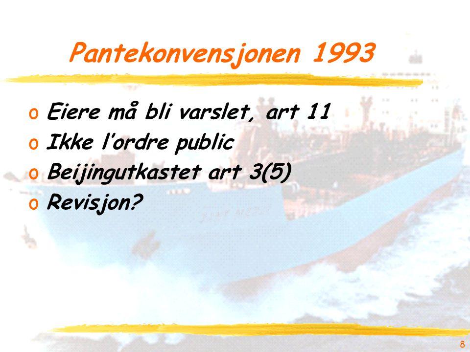 Pantekonvensjonen 1993 oEiere må bli varslet, art 11 oIkke l'ordre public oBeijingutkastet art 3(5) oRevisjon.