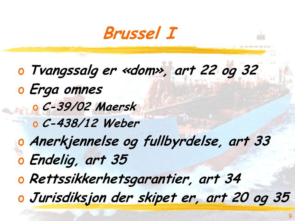 Brussel I oTvangssalg er «dom», art 22 og 32 oErga omnes oC-39/02 Maersk oC-438/12 Weber oAnerkjennelse og fullbyrdelse, art 33 oEndelig, art 35 oRettssikkerhetsgarantier, art 34 oJurisdiksjon der skipet er, art 20 og 35 9