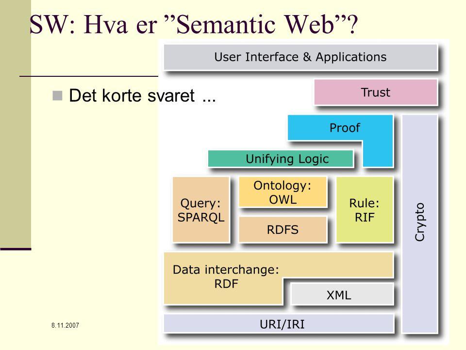 8.11.2007 Steinar Skagemo12 SW: Hva er Semantic Web ? Det korte svaret...