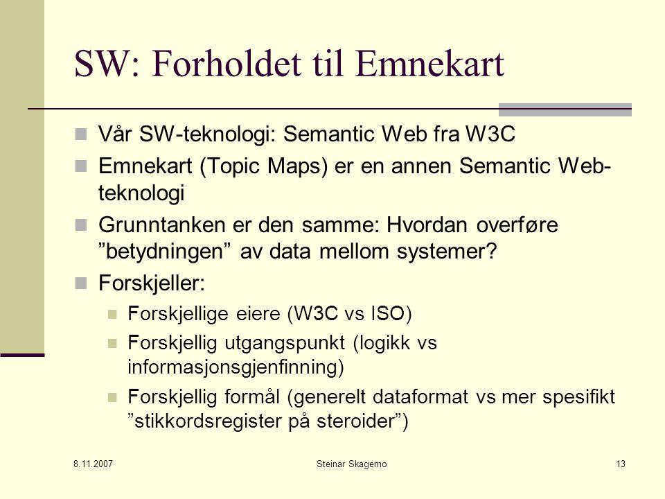 8.11.2007 Steinar Skagemo13 SW: Forholdet til Emnekart Vår SW-teknologi: Semantic Web fra W3C Emnekart (Topic Maps) er en annen Semantic Web- teknologi Grunntanken er den samme: Hvordan overføre betydningen av data mellom systemer.