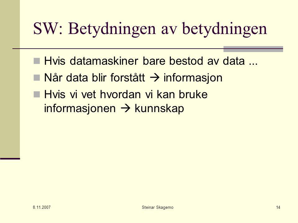 8.11.2007 Steinar Skagemo14 SW: Betydningen av betydningen Hvis datamaskiner bare bestod av data...