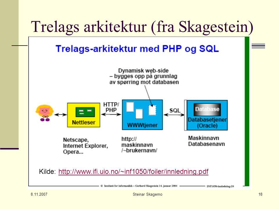 8.11.2007 Steinar Skagemo18 Trelags arkitektur (fra Skagestein) Kilde: http://www.ifi.uio.no/~inf1050/foiler/innledning.pdfhttp://www.ifi.uio.no/~inf1050/foiler/innledning.pdf