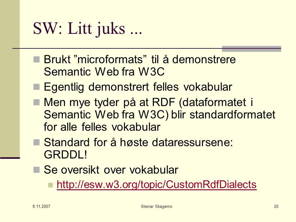 8.11.2007 Steinar Skagemo20 SW: Litt juks...