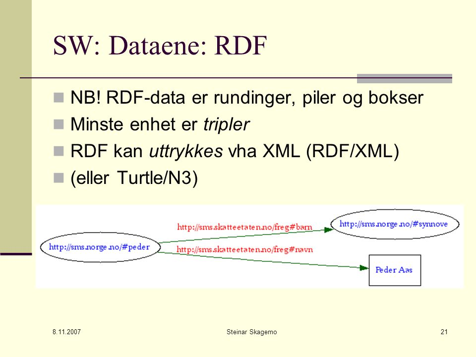 8.11.2007 Steinar Skagemo21 SW: Dataene: RDF NB.
