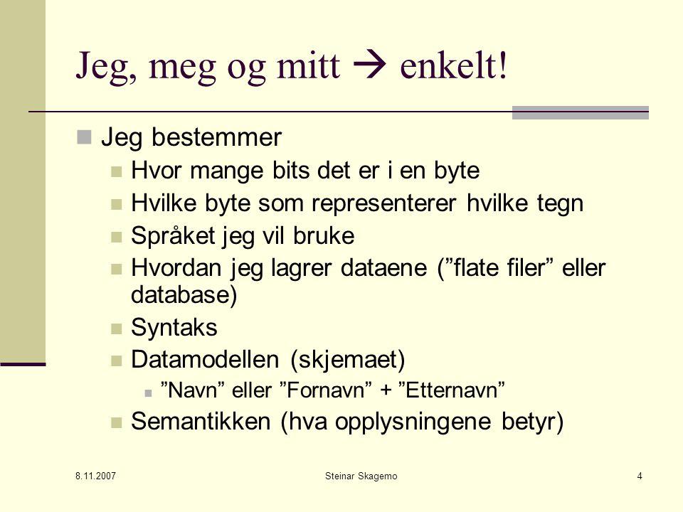 8.11.2007 Steinar Skagemo4 Jeg, meg og mitt  enkelt.
