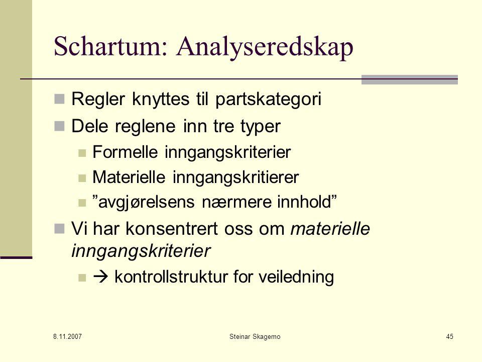 8.11.2007 Steinar Skagemo45 Schartum: Analyseredskap Regler knyttes til partskategori Dele reglene inn tre typer Formelle inngangskriterier Materielle inngangskritierer avgjørelsens nærmere innhold Vi har konsentrert oss om materielle inngangskriterier  kontrollstruktur for veiledning